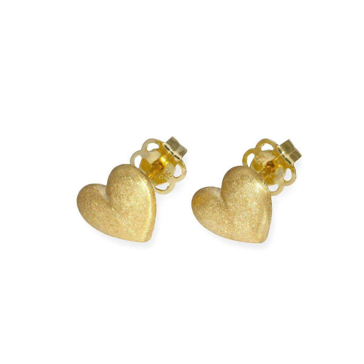 9ct Gold Frosted Heart Stud Earrings