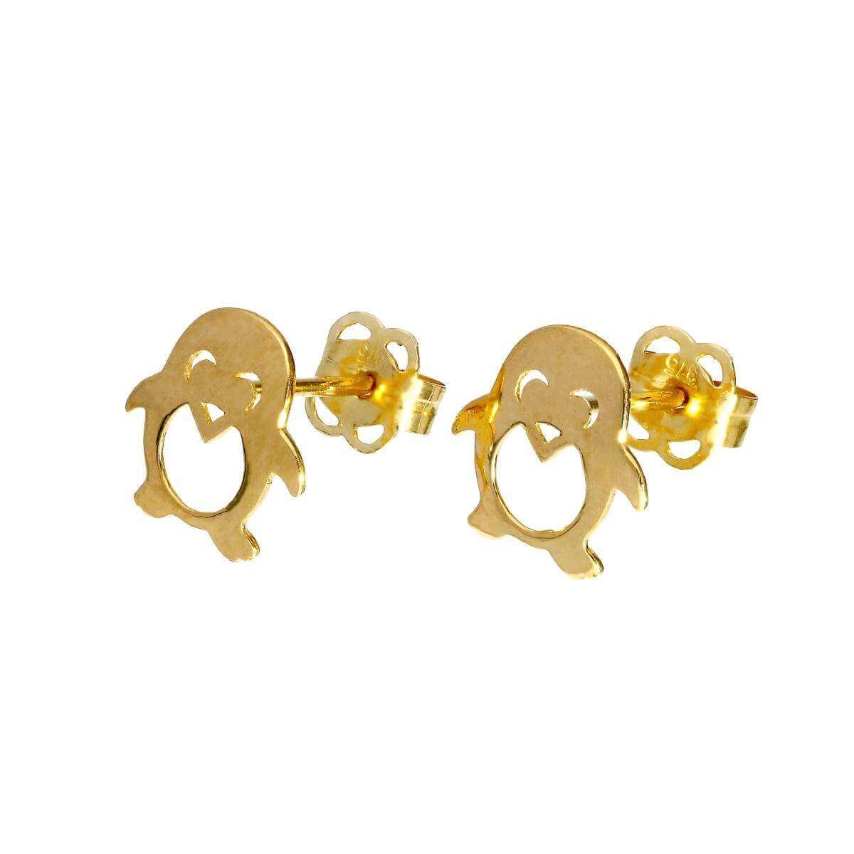 9ct Gold Happy Penguin w Cut Out Details Stud Earrings
