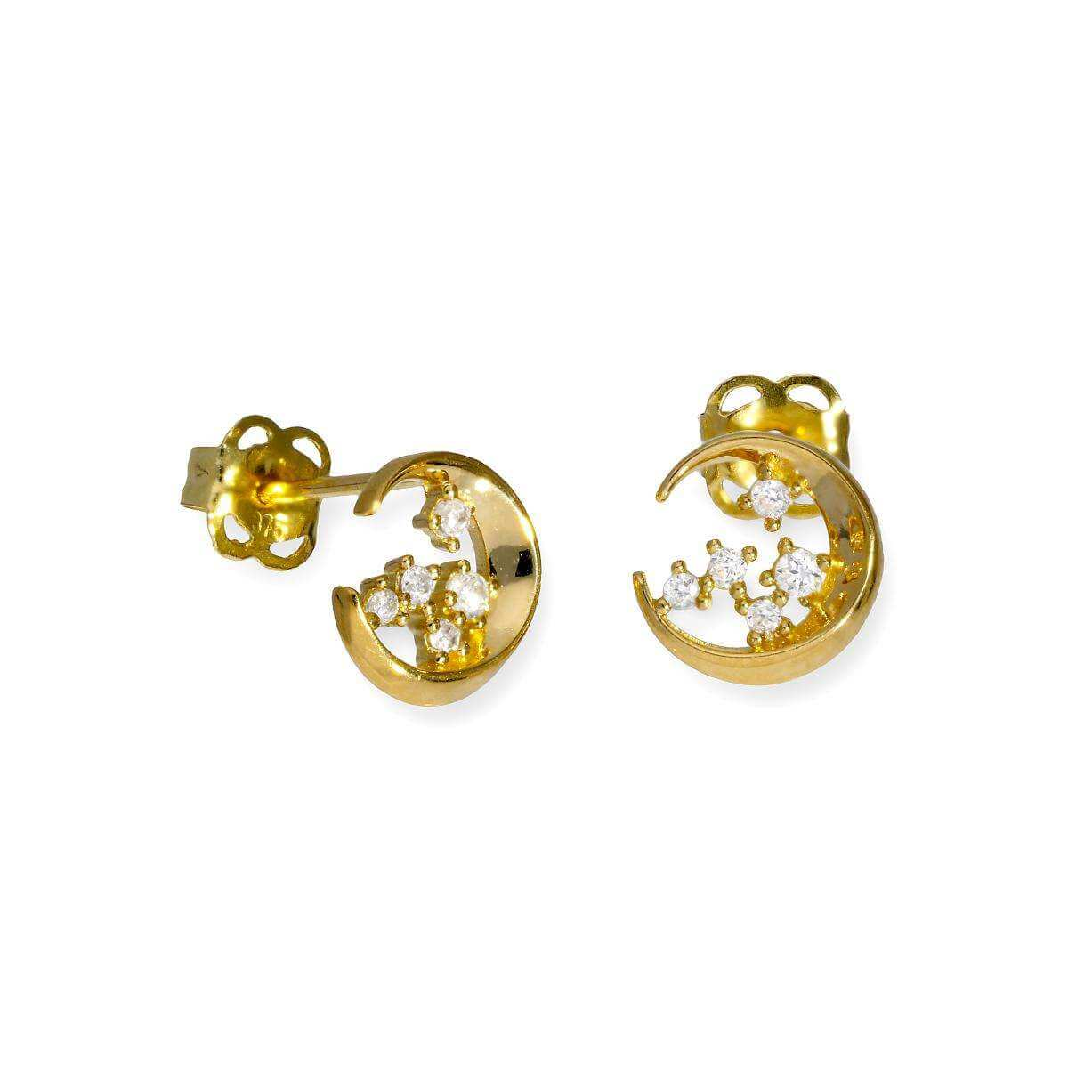 9ct Gold & Clear CZ Crystal Moon & Stars Stud Earrings