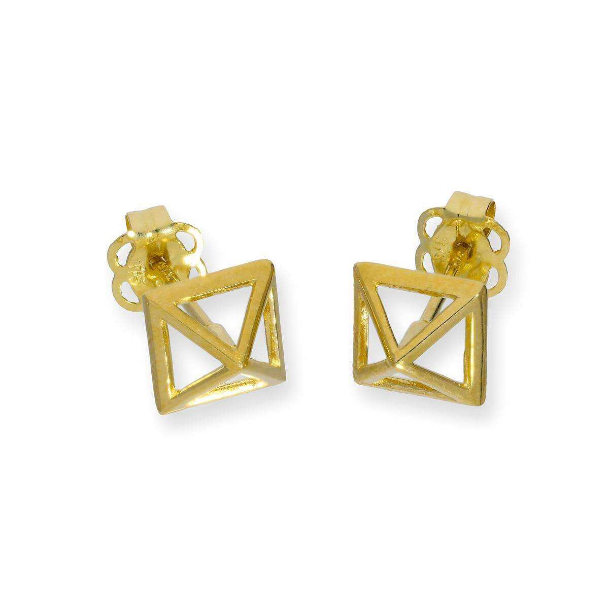 9ct Gold 3D Pyramid Outline Stud Earrings
