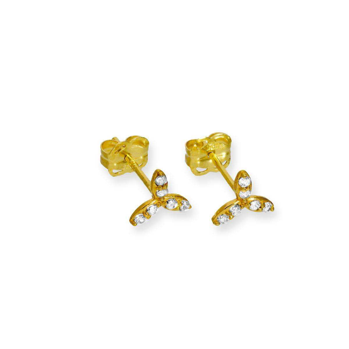 9ct Gold & Clear CZ Crystal Leaves Stud Earrings