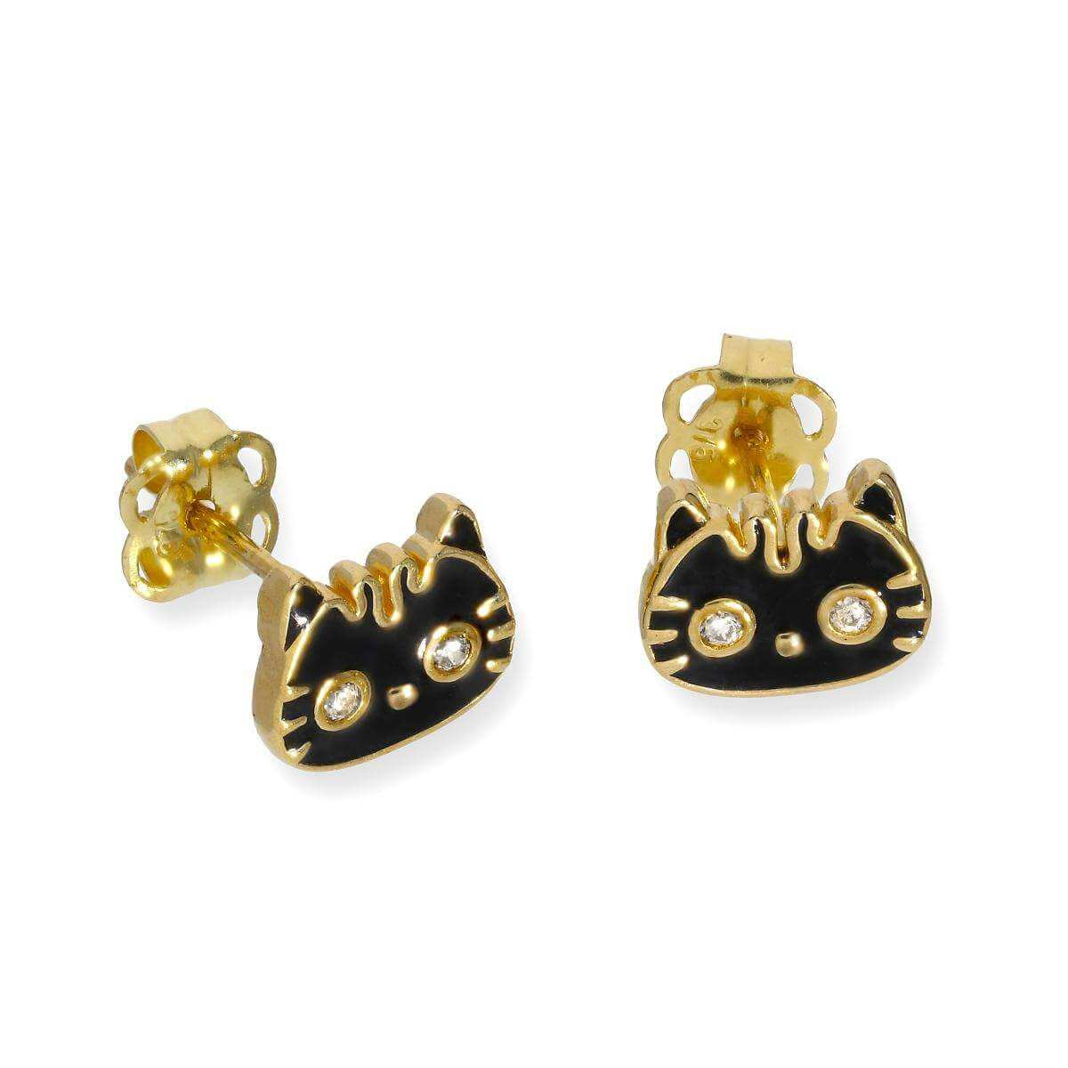 9ct Gold Black Enamel & Clear CZ Crystal Cat Face Stud Earrings