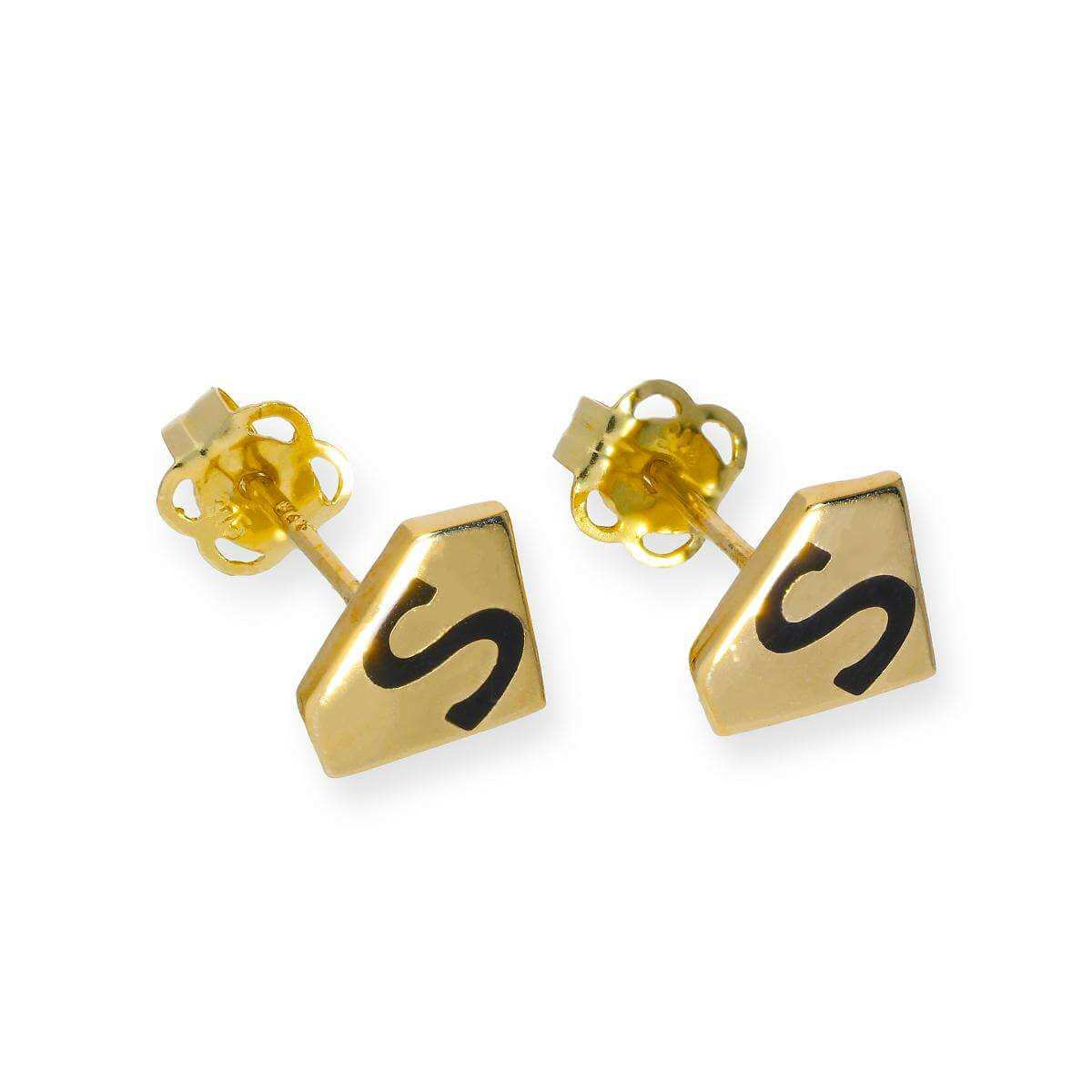 9ct Gold & Black Enamel S Shield Stud Earrings
