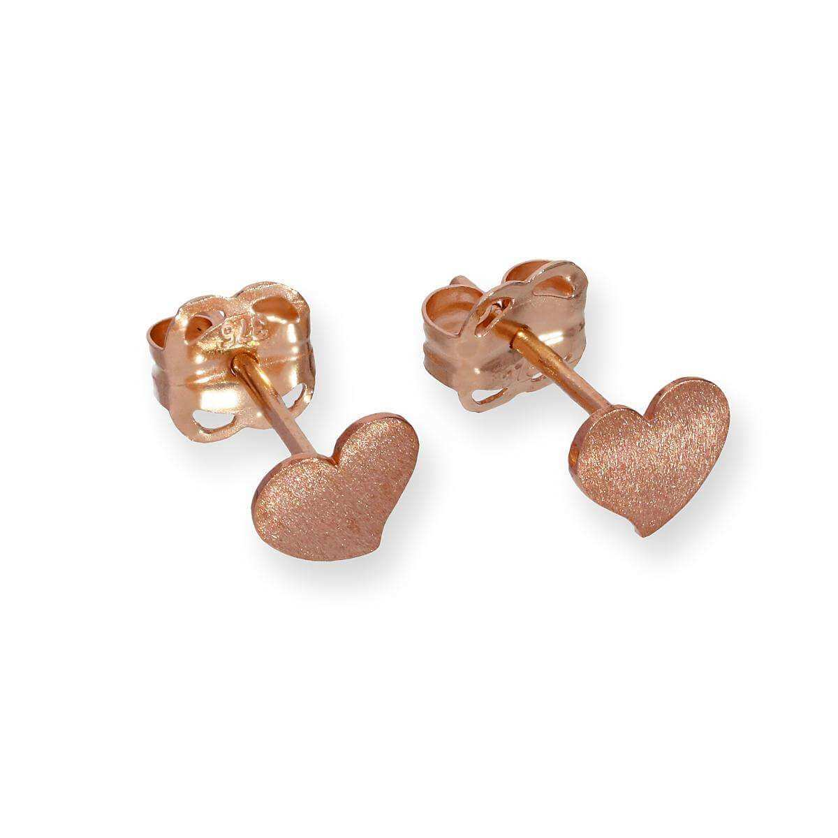 9ct Rose Gold Frosted Heart Stud Earrings