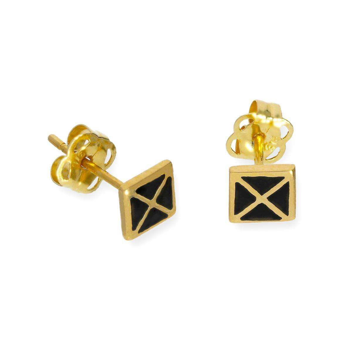9ct Gold & Black Enamel Square Stud Earrings