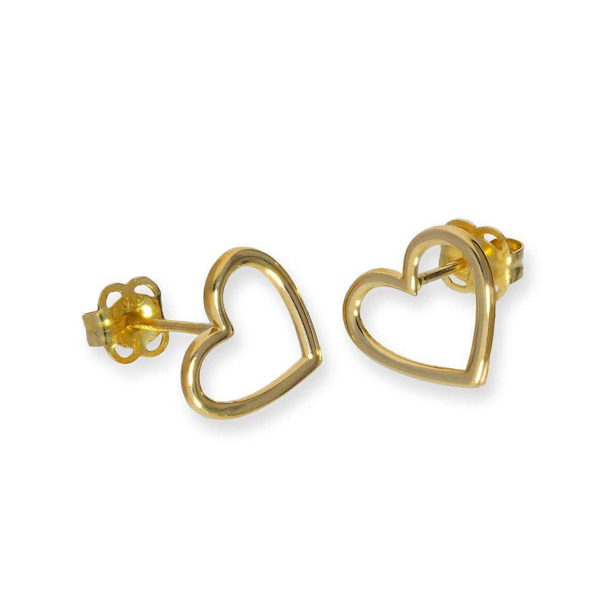9ct Gold Heart Outline Stud Earrings