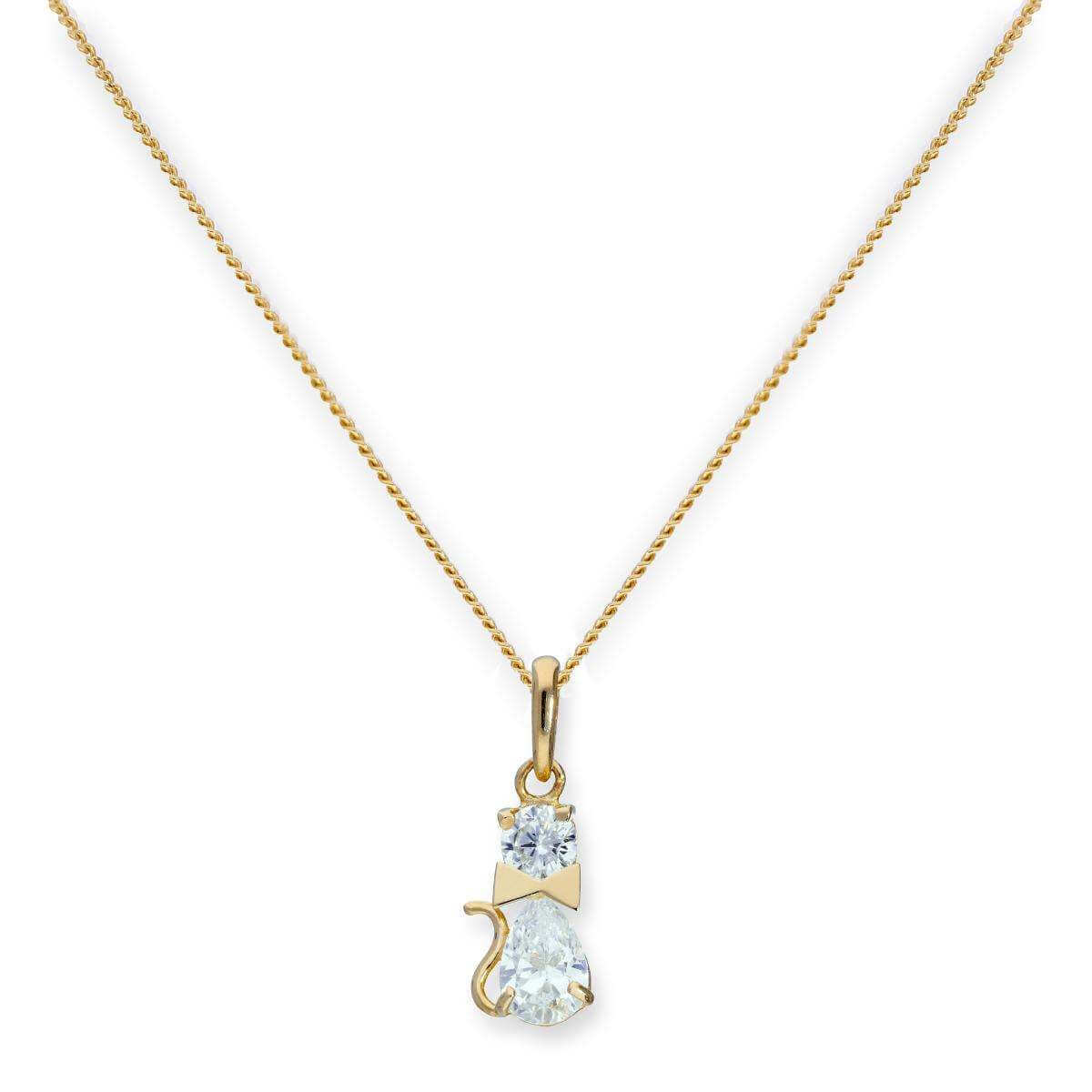 9ct Gold & Clear CZ Crystal Cat w Bow Collar Pendant Necklace 16 - 20 Inches