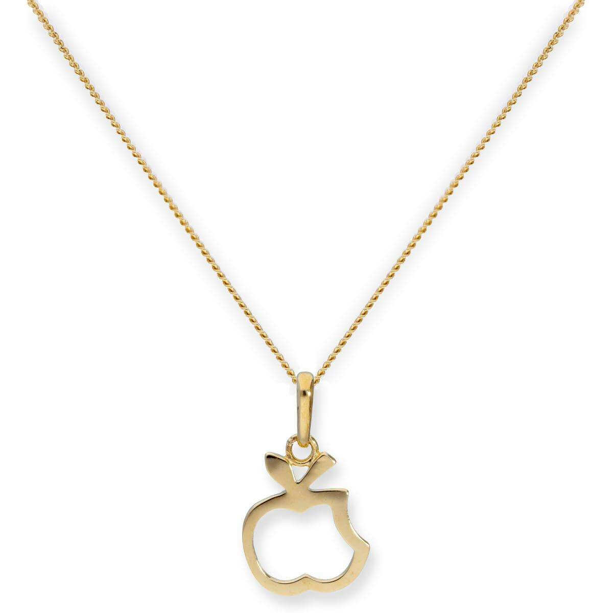 9ct Gold Bitten Apple Outline Pendant Necklace 16 - 20 Inches