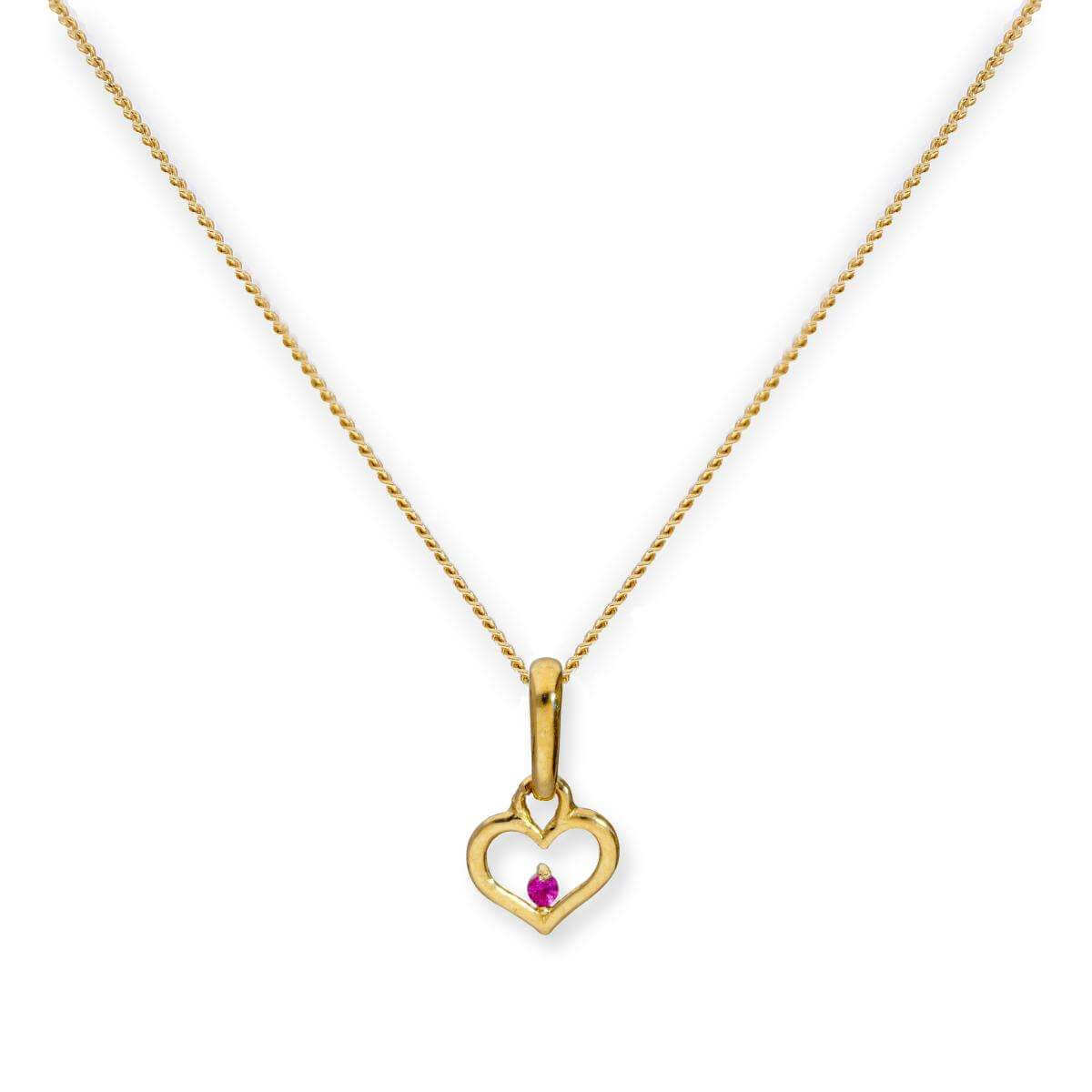 9ct Gold Heart Outline w Ruby CZ Crystal Pendant Necklace 16 - 20 Inches