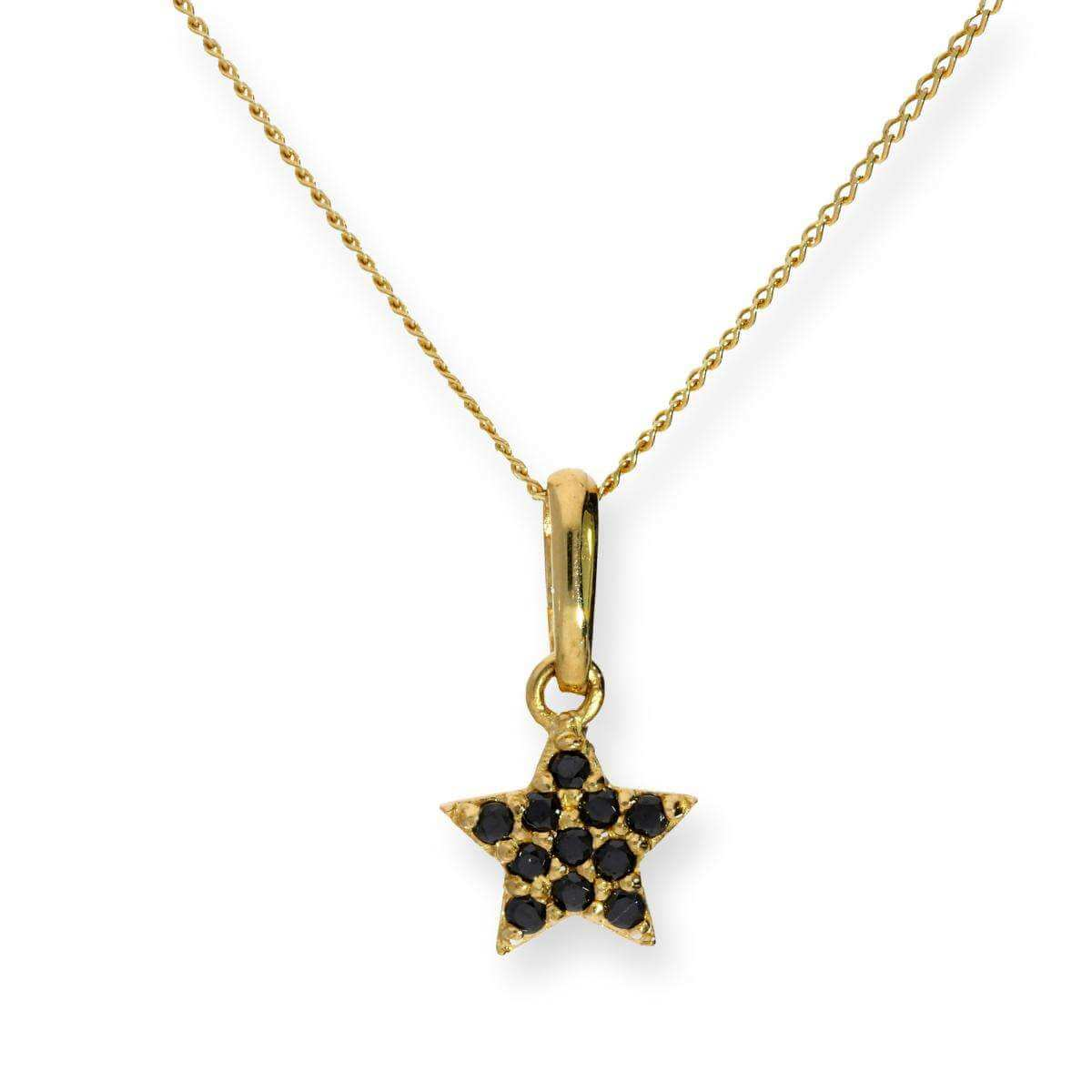9ct Gold & Black CZ Crystal Star Pendant Necklace 16 - 20 Inches