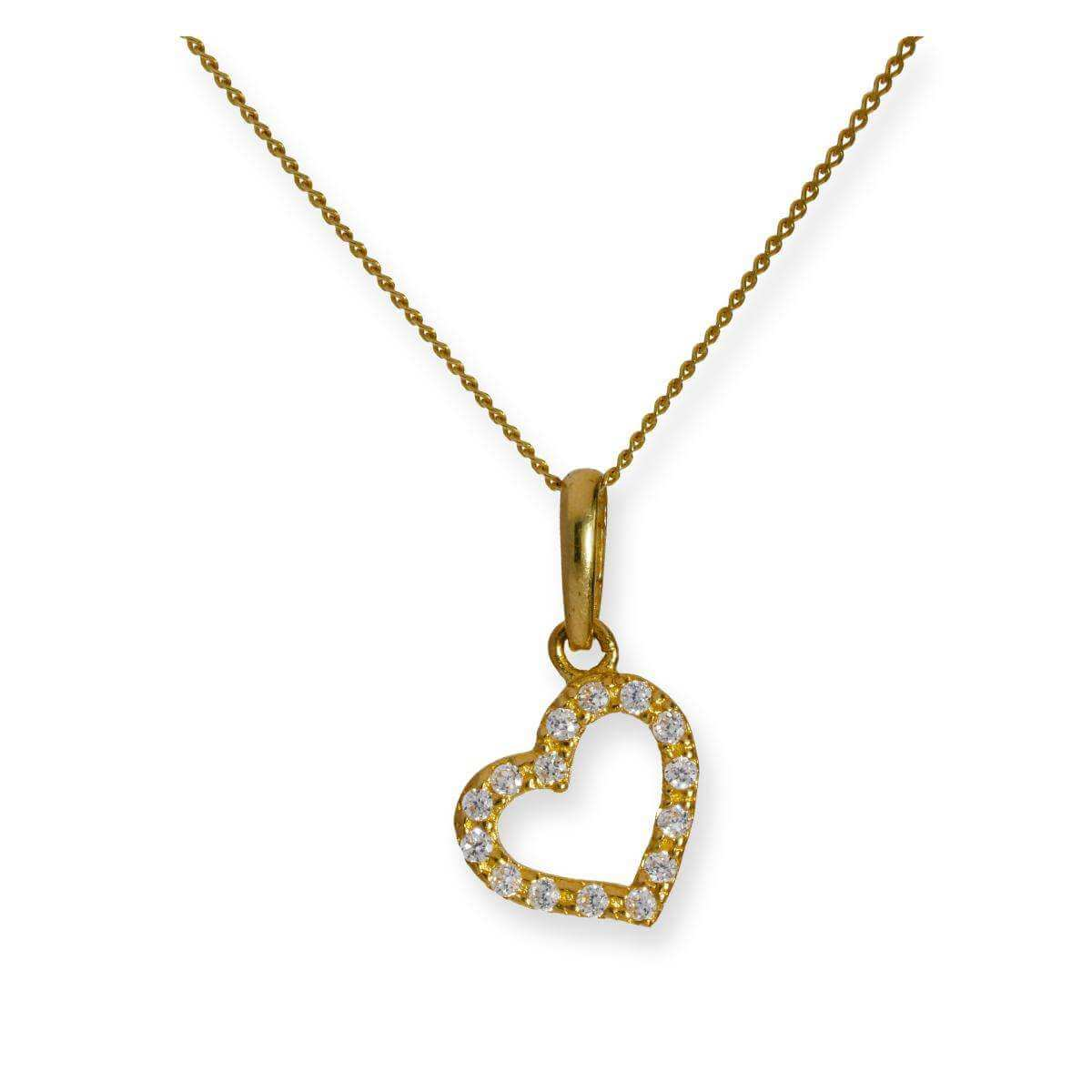 9ct Gold & Clear CZ Crystal Heart Outline Pendant Necklace 16 - 20 Inches