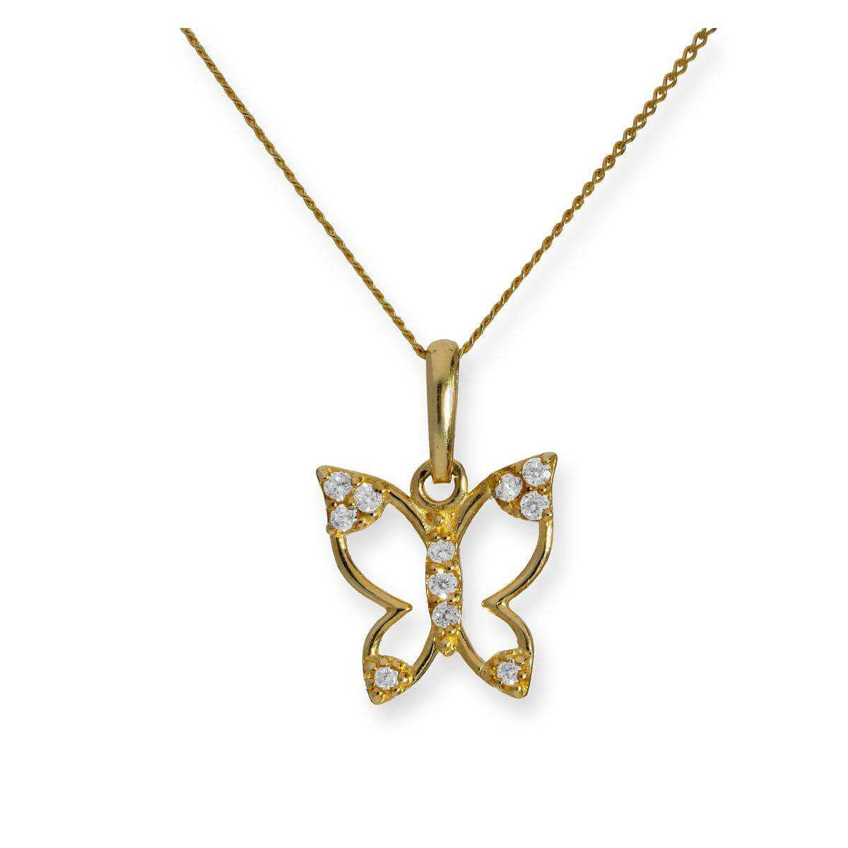 9ct Gold & Clear CZ Crystal Cut Out Butterfly Pendant Necklace 16 - 20 Inches