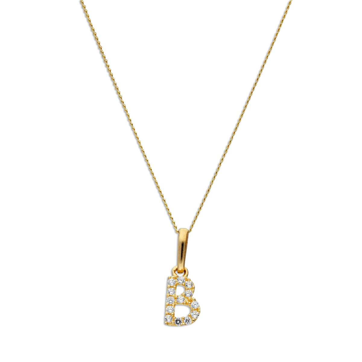 9ct Gold & Clear CZ Crystal Hanging Script Alphabet Letter B Pendant on 16 - 20 Inches Chain
