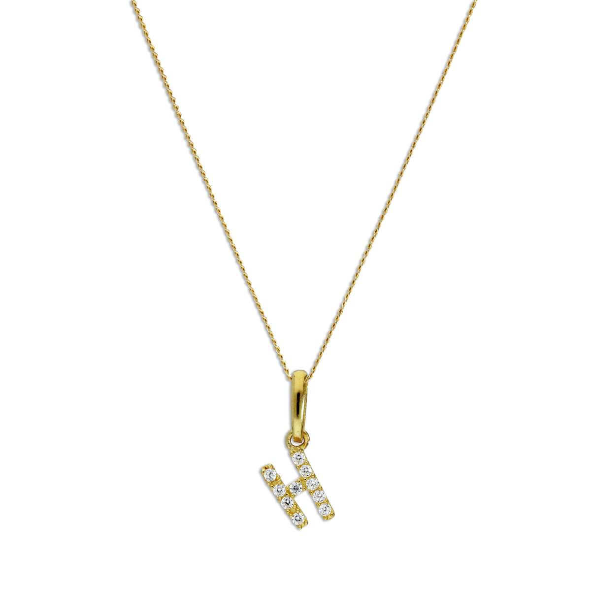 9ct Gold & Clear CZ Crystal Hanging Script Alphabet Letter H Pendant on 16 - 20 Inches Chain