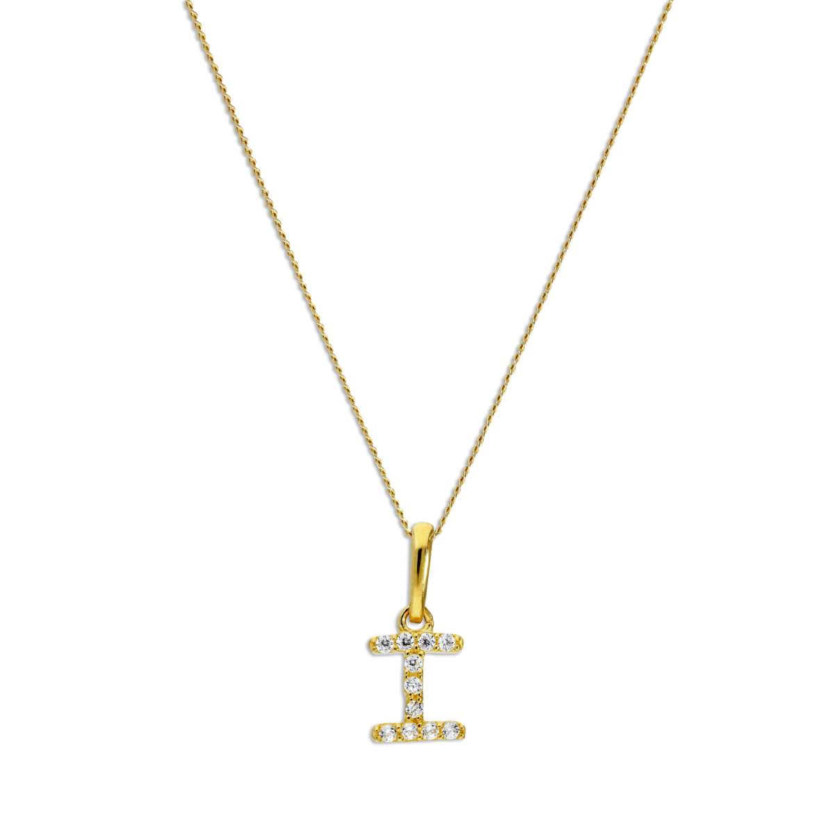 9ct Gold & Clear CZ Crystal Hanging Script Alphabet Letter I Pendant on 16 - 20 Inches Chain