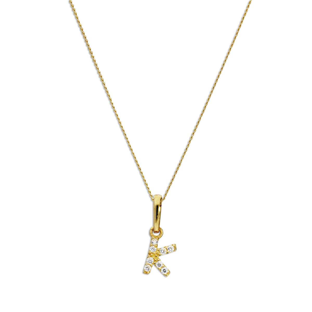 9ct Gold & Clear CZ Crystal Hanging Script Alphabet Letter K Pendant on 16 - 20 Inches Chain