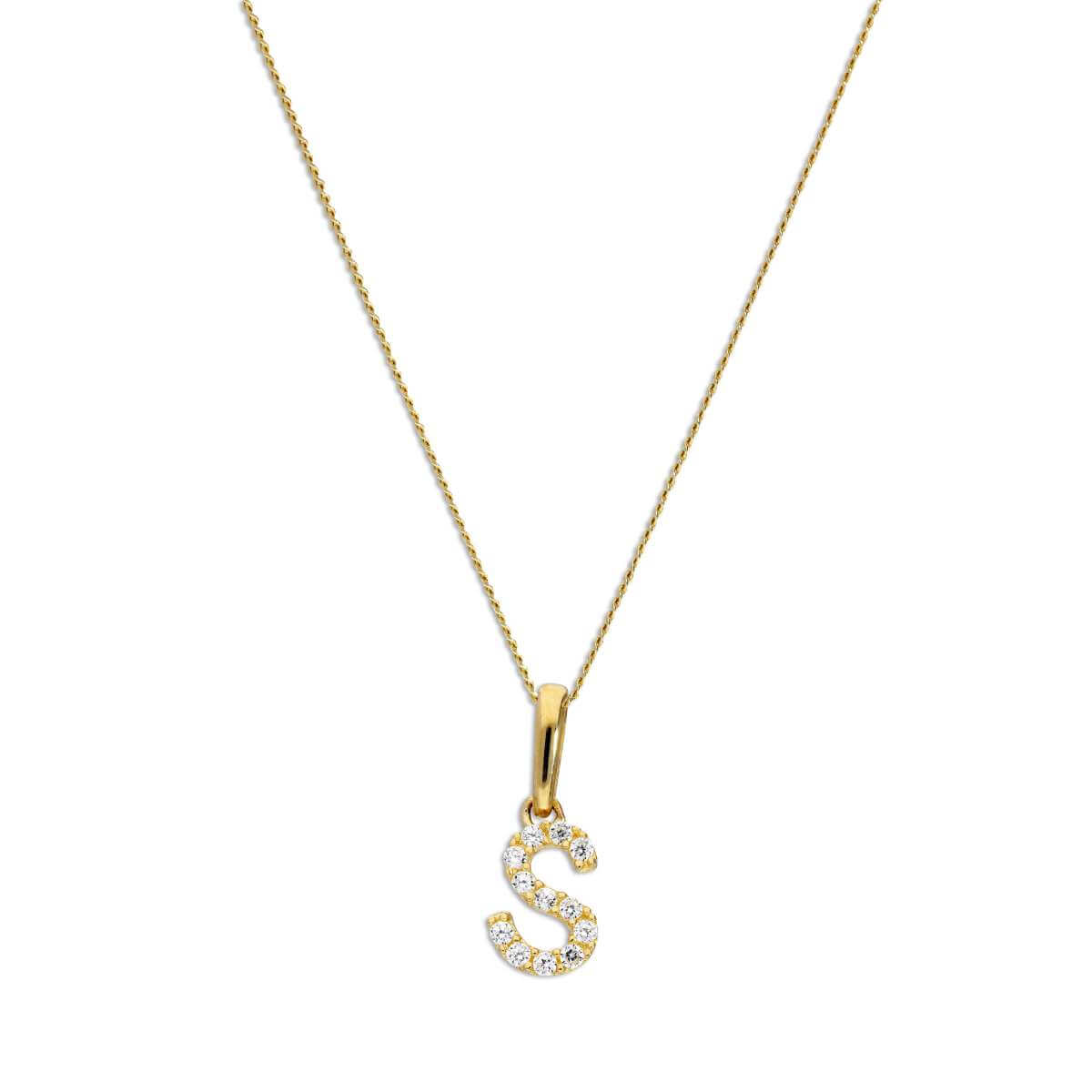 9ct Gold & Clear CZ Crystal Hanging Script Alphabet Letter S Pendant on 16 - 20 Inches Chain