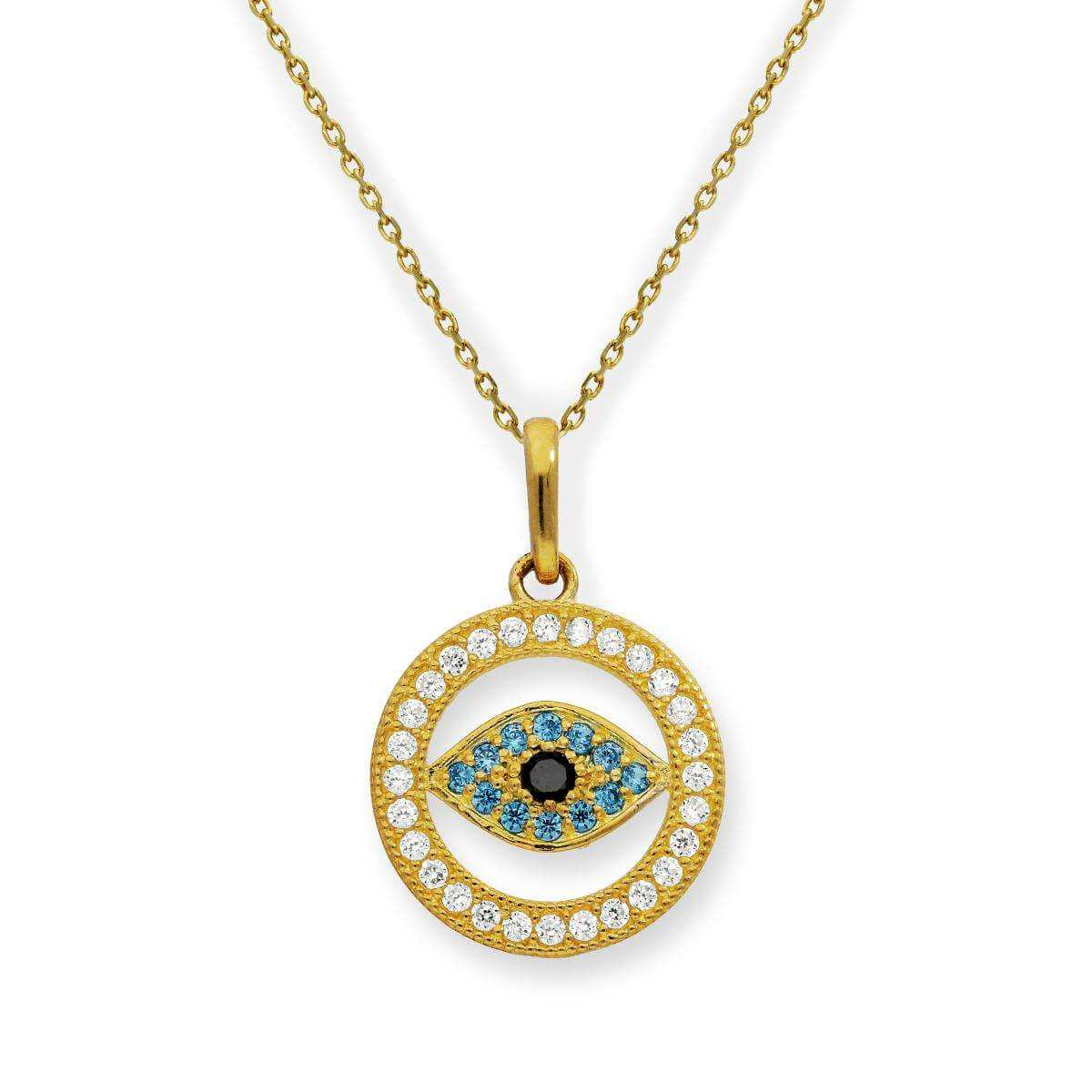 9ct Gold & CZ Crystal Evil Eye Pendant on Chain
