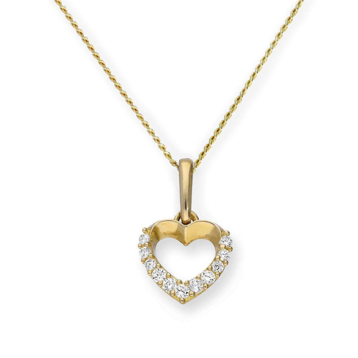 9ct Gold & Clear CZ Crystal Cut Out Heart Pendant Necklace