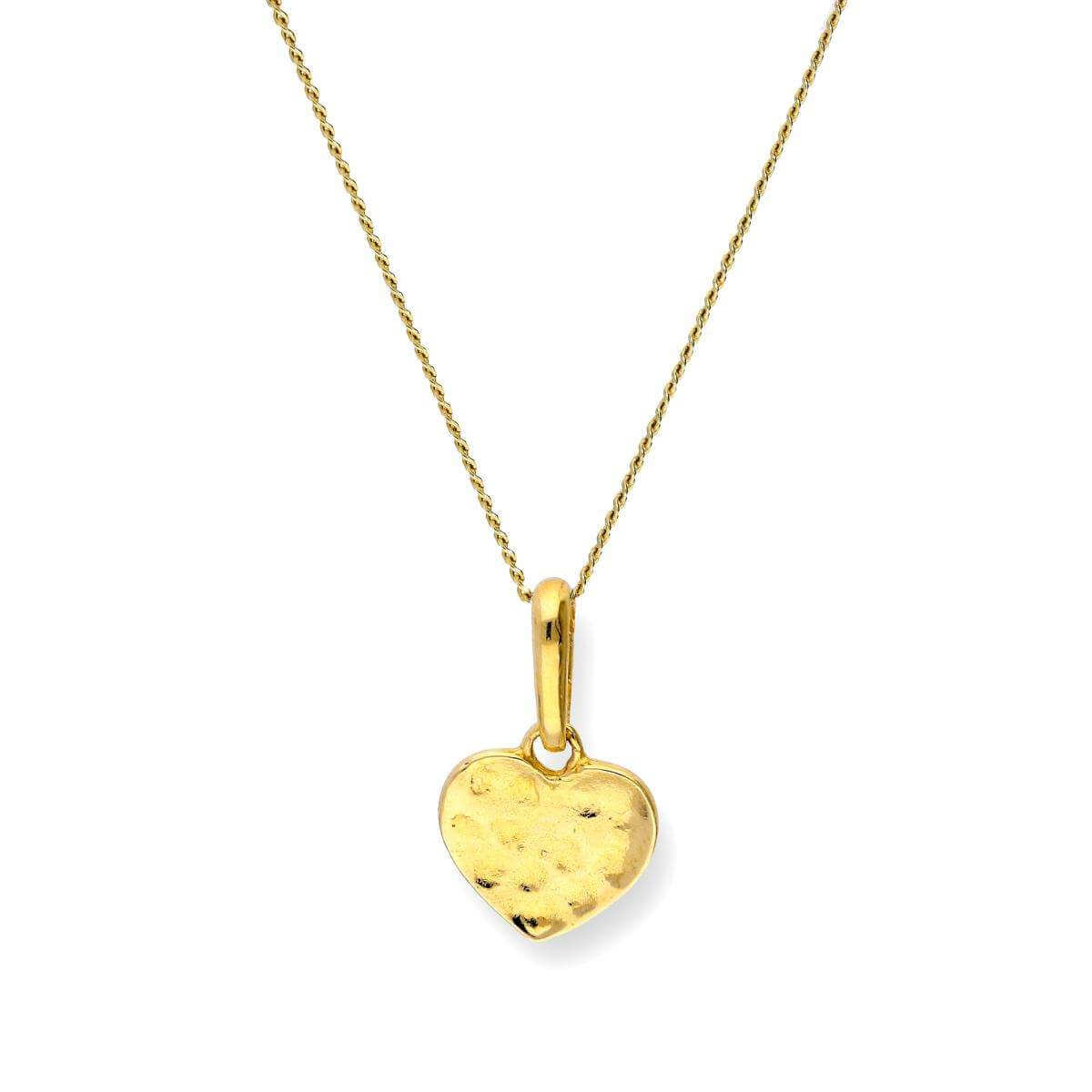 9ct Gold Hammered Finish Heart Pendant Necklace