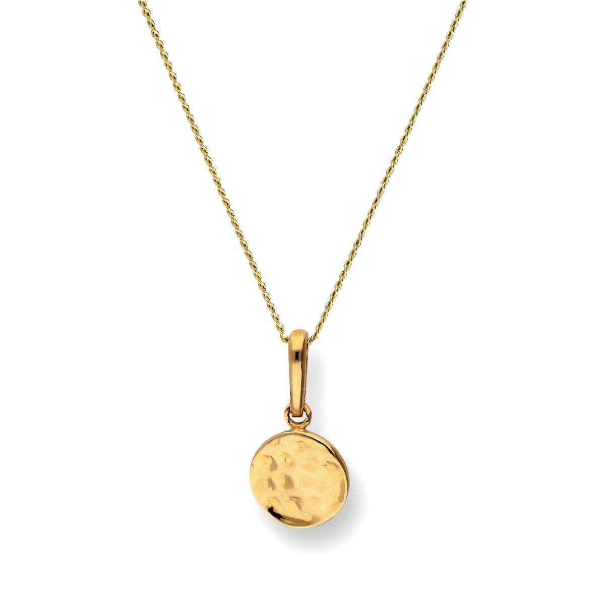 9ct Gold Hammered Finish Round Pendant Necklace