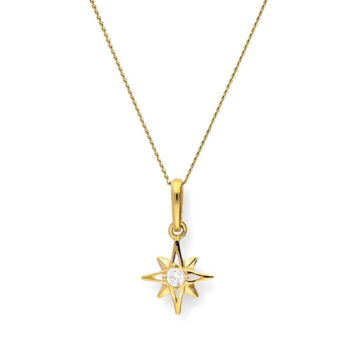 9ct Gold & Clear CZ Crystal Shining Star Pendant Necklace