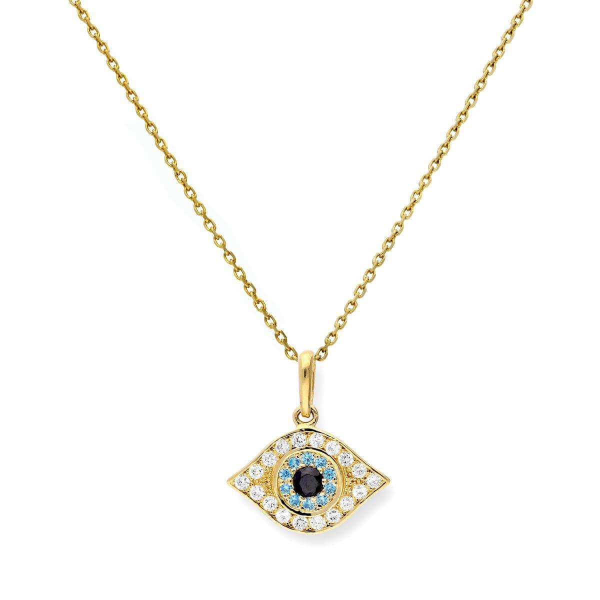 9ct Gold & CZ Crystal Evil Eye Pendant Necklace