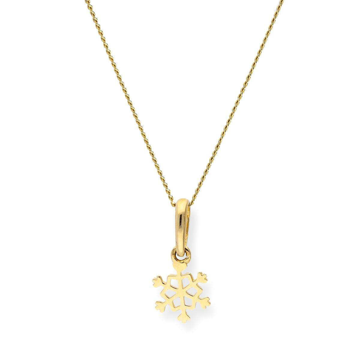 9ct Gold Snowflake Pendant Necklace