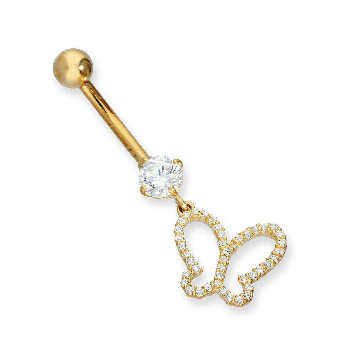 9ct Gold & Clear CZ Crystal Hanging Butterfly Outline Belly Bar