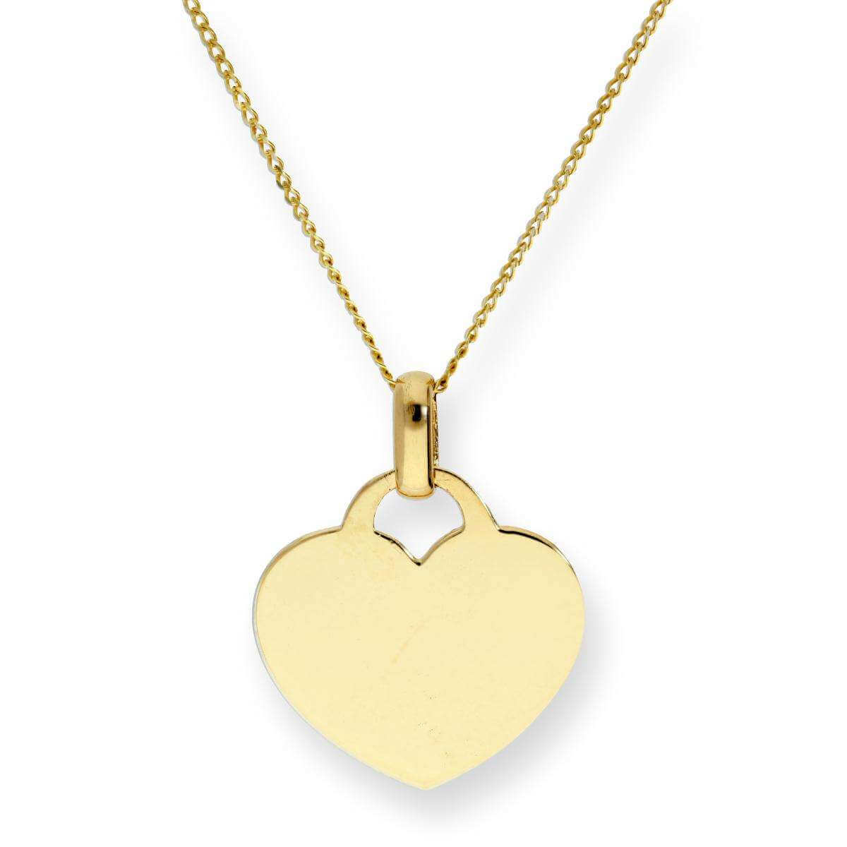 9ct Gold Engravable Heart Pendant on Chain 16 - 18 Inches