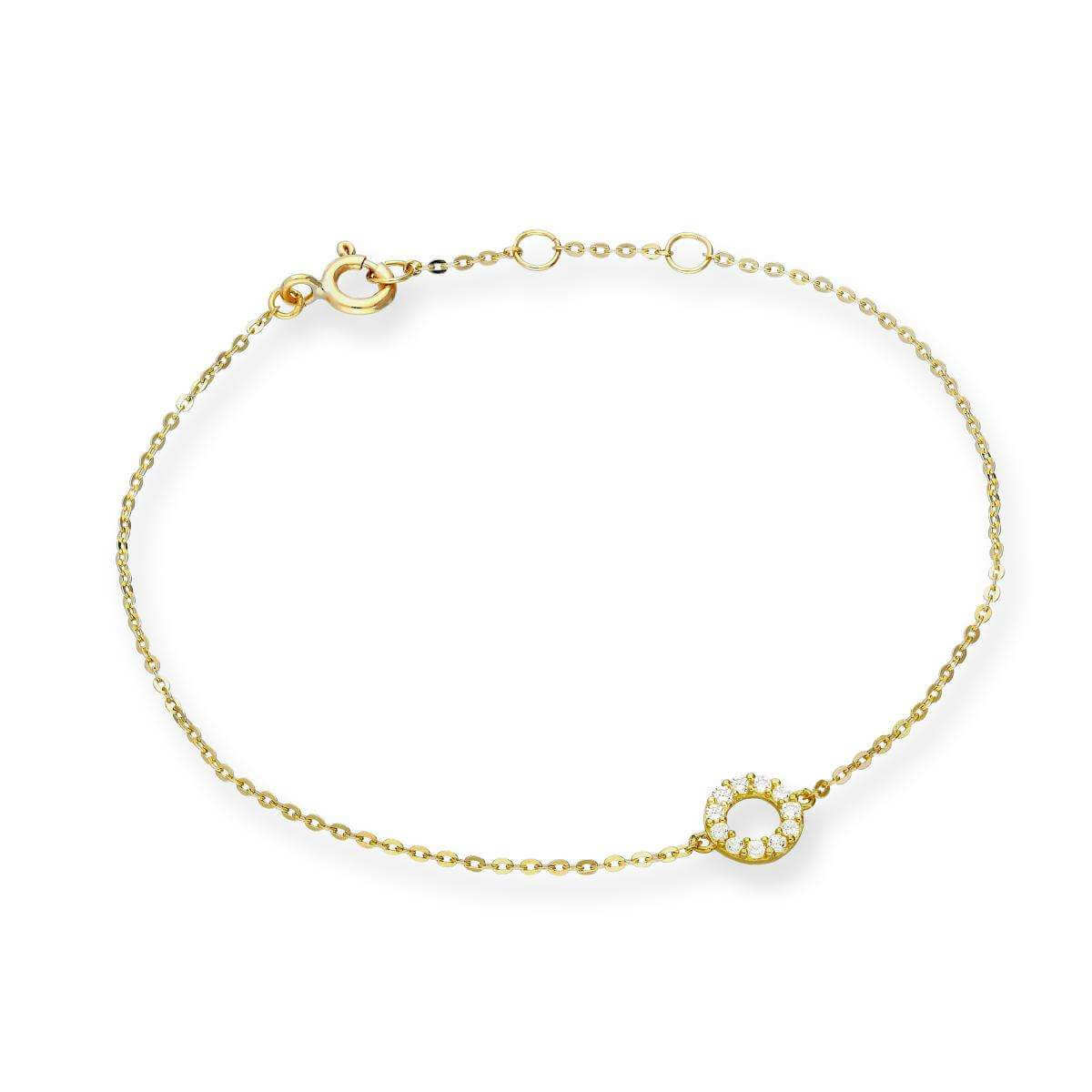 9ct Gold & Clear CZ Crystal 7 Inch Karma Circle Bracelet