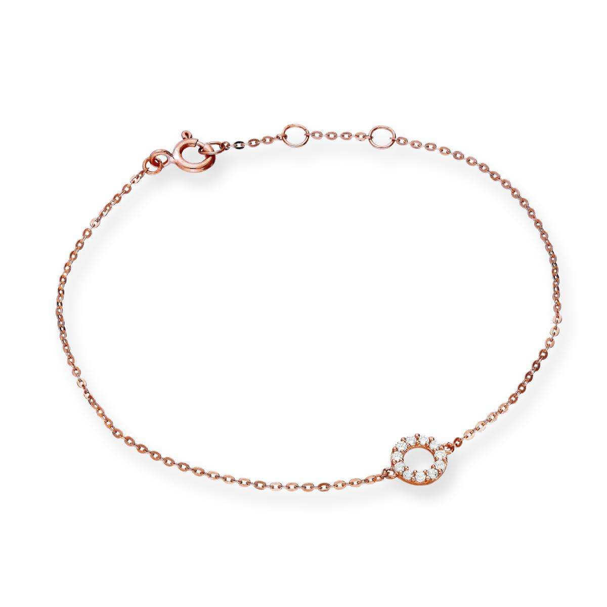 9ct Rose Gold & Clear CZ Crystal 7 Inch Karma Circle Bracelet