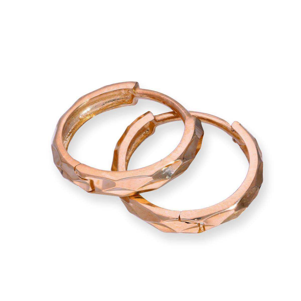 9ct Rose Gold Faceted Huggie Hoops Earrings