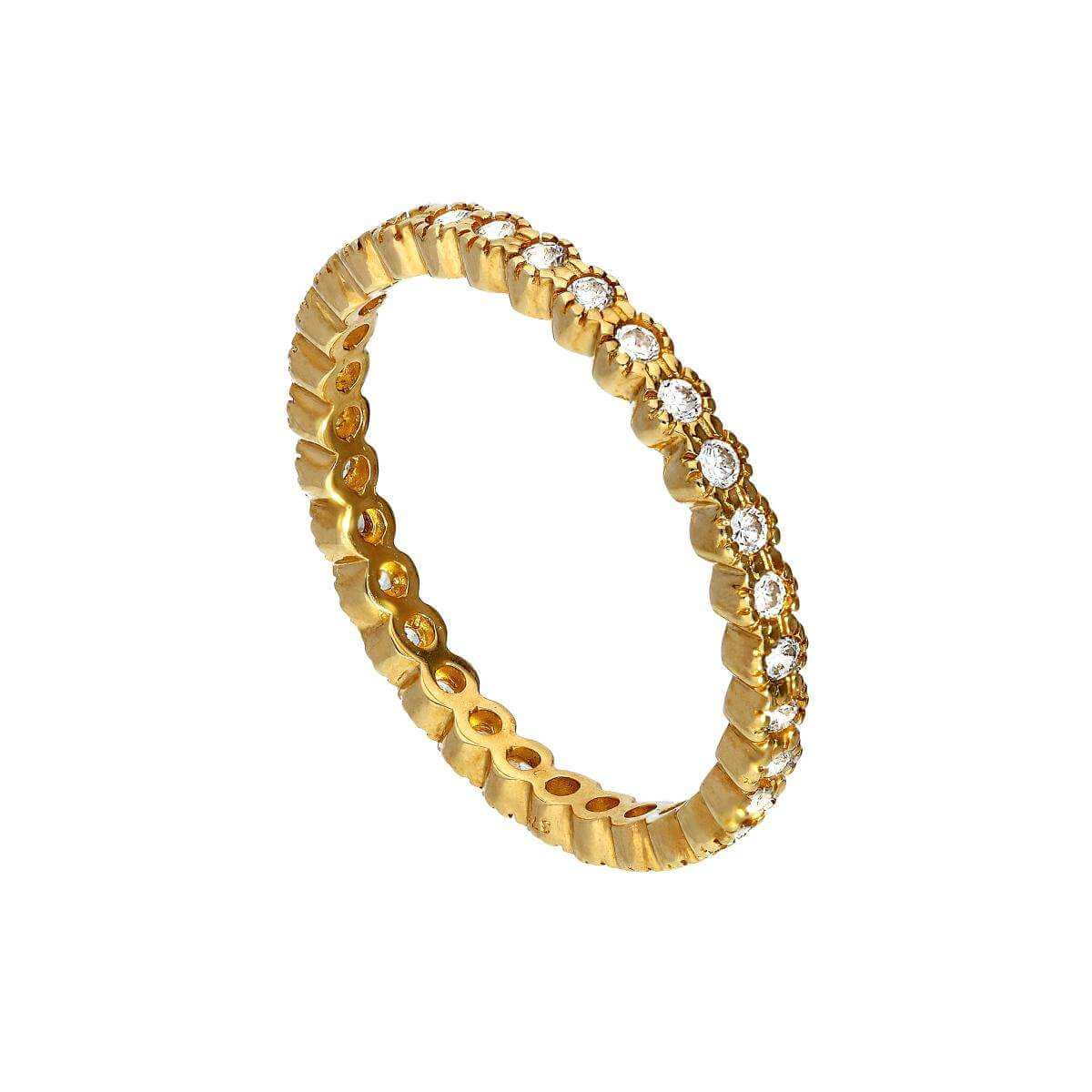 9ct Gold & Clear CZ Crystal Full Eternity Stacking Ring Size I-U