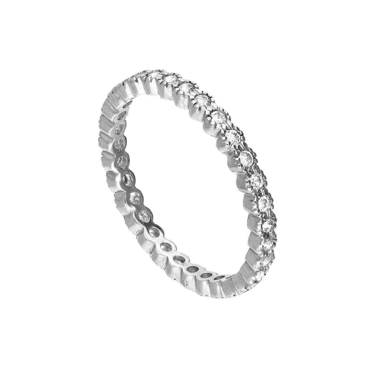 9ct White Gold & Clear CZ Crystal Full Eternity Stacking Ring Size I-U
