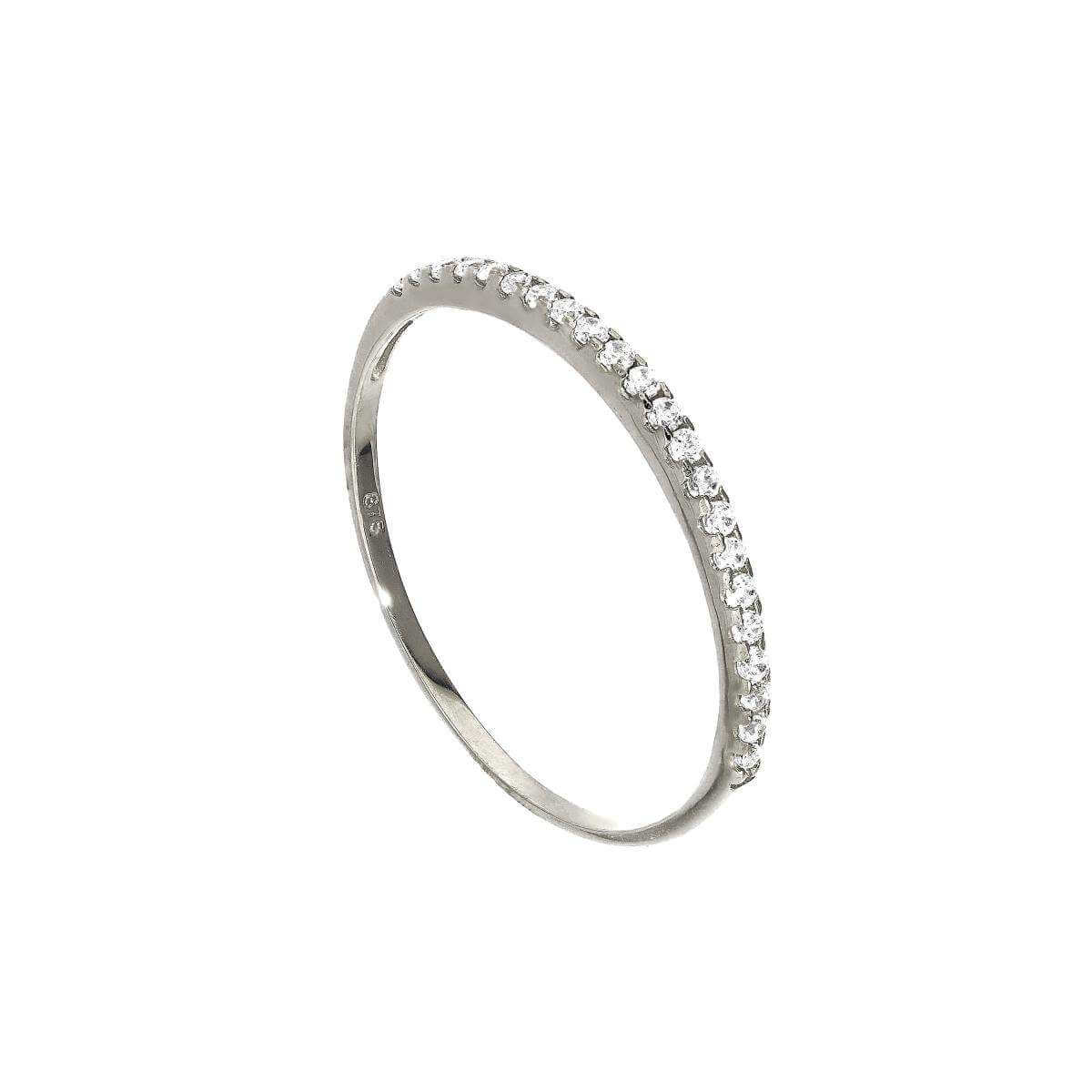 9ct White Gold & Clear CZ Crystal Half Eternity Stacking Ring Size I-U