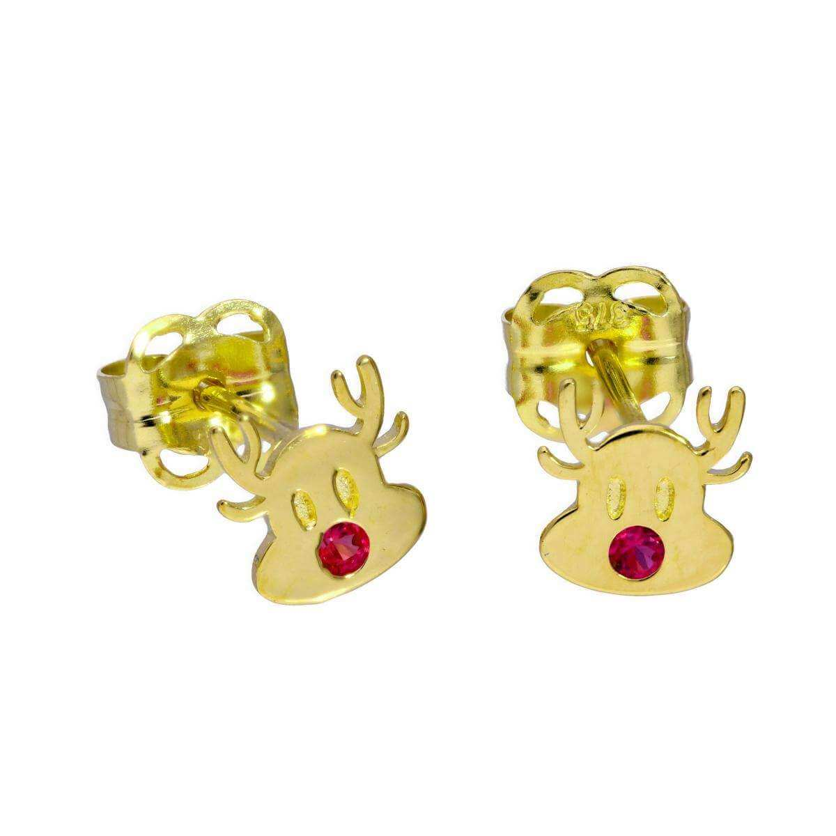 9ct Gold & Ruby CZ Crystal Rudolph the Red Nose Reindeer Stud Earrings