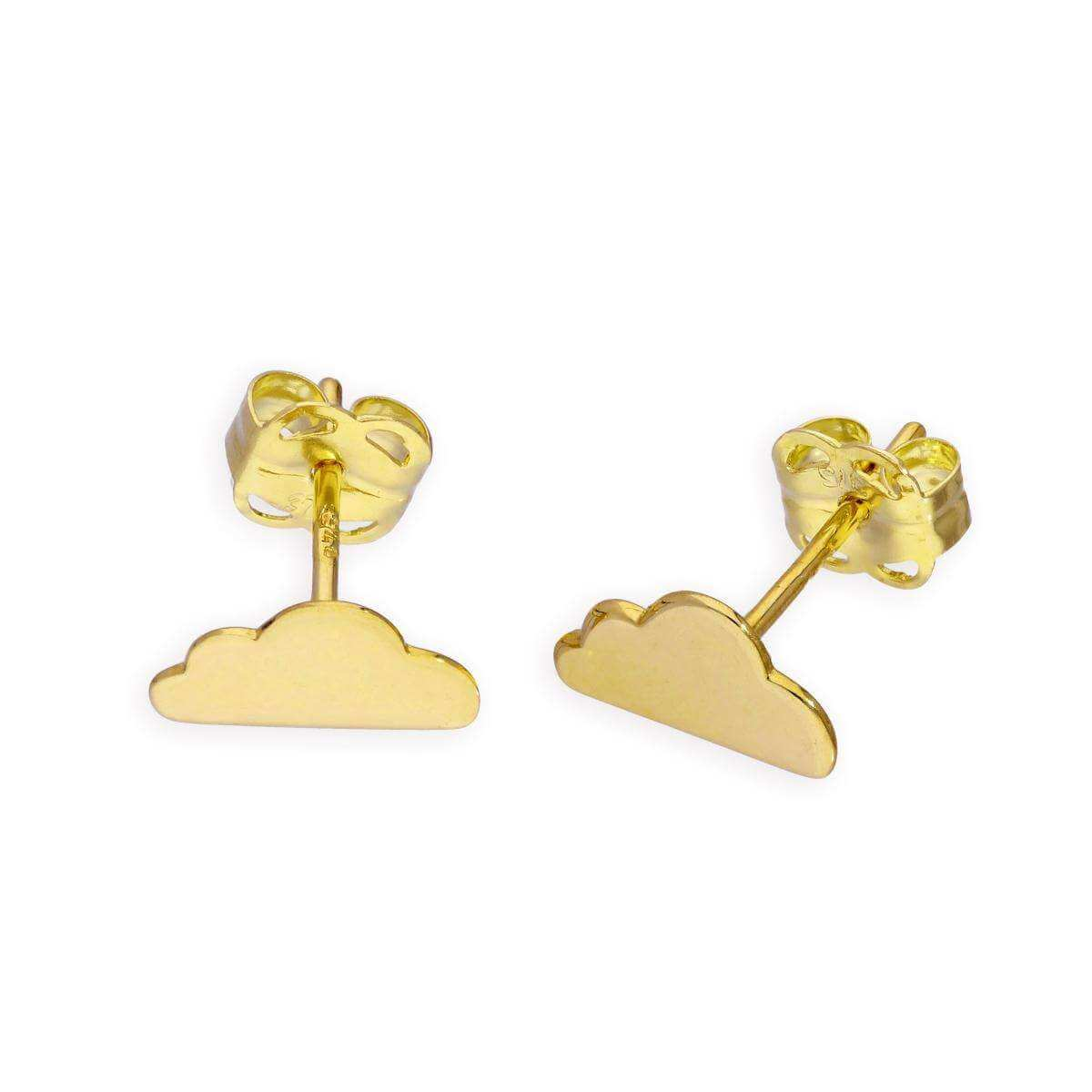 9ct Gold Cloud Stud Earrings