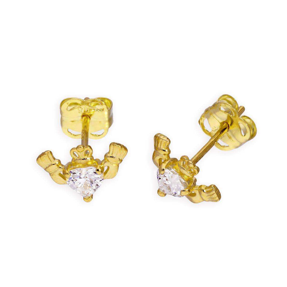 9ct Gold & Clear CZ Crystal Claddagh Stud Earrings