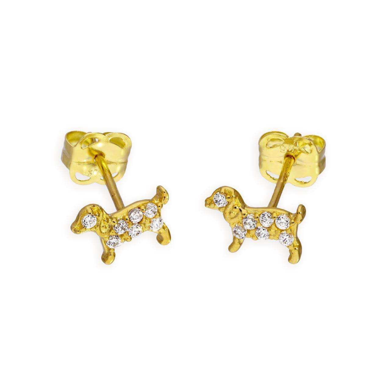 9ct Gold & Clear CZ Crystal Dog Stud Earrings
