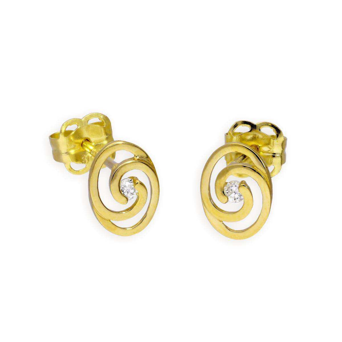 9ct Gold & Clear CZ Crystal Swirl Stud Earrings