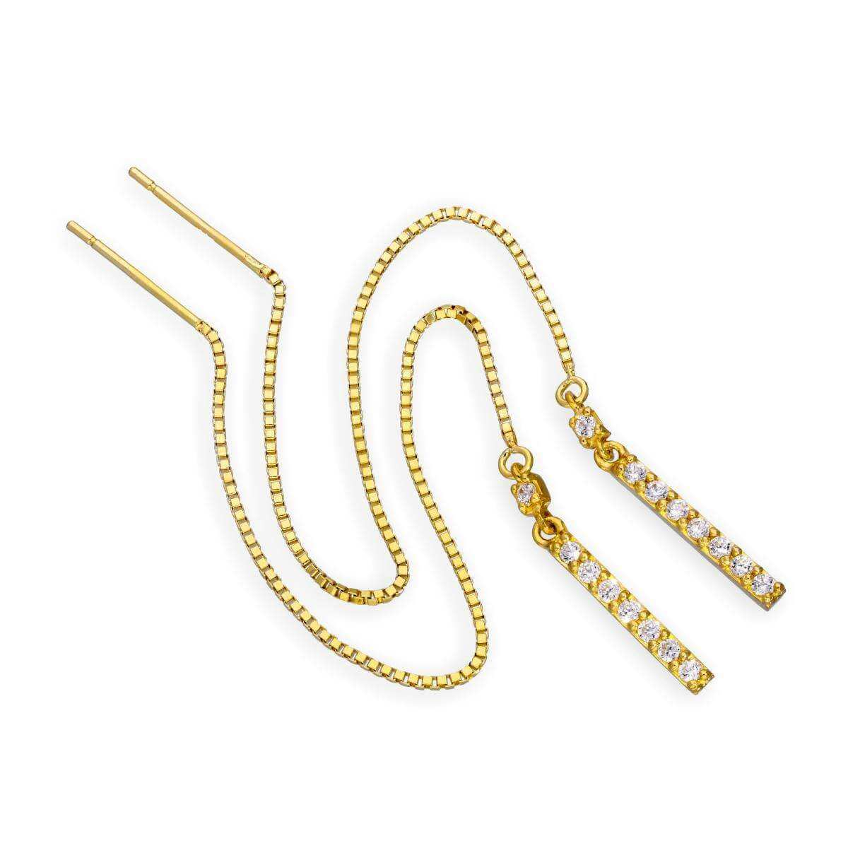 9ct Gold & Clear CZ Crystal Bar Pull Through Earrings