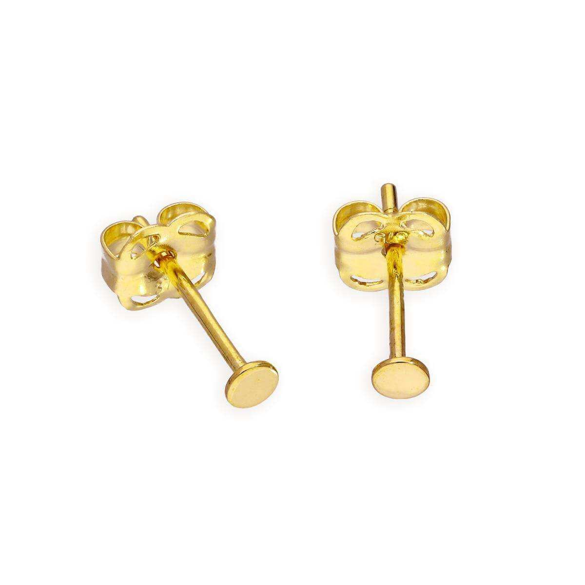 9ct Gold 2mm Flat Circle Stud Earrings