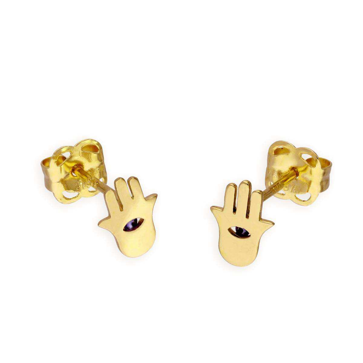 9ct Gold & Blue CZ Crystal Hamsa Hand Stud Earrings