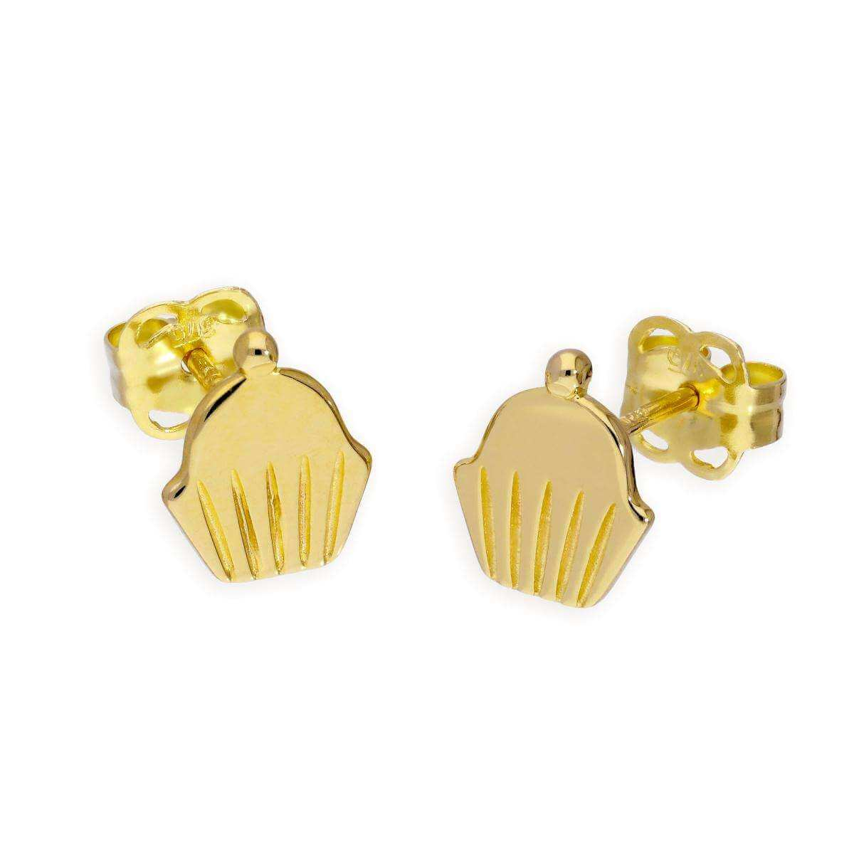 9ct Gold Cupcake Stud Earrings
