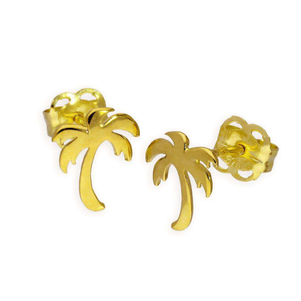 9ct Gold Palm Tree Stud Earrings