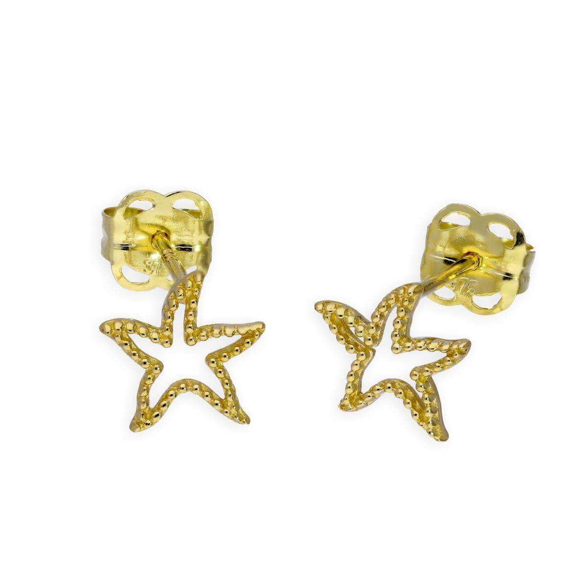 9ct Gold Starfish Outline Stud Earrings