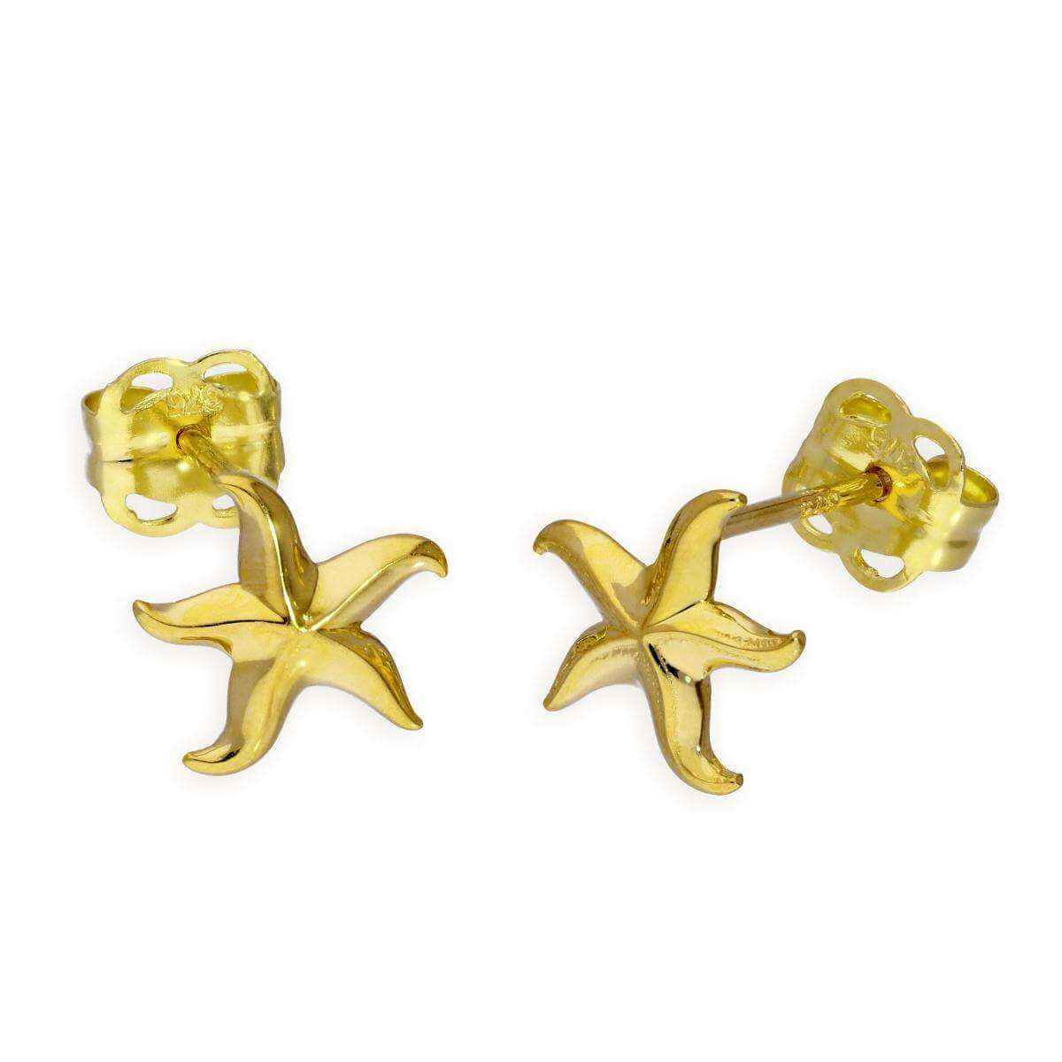 9ct Gold Starfish Stud Earrings