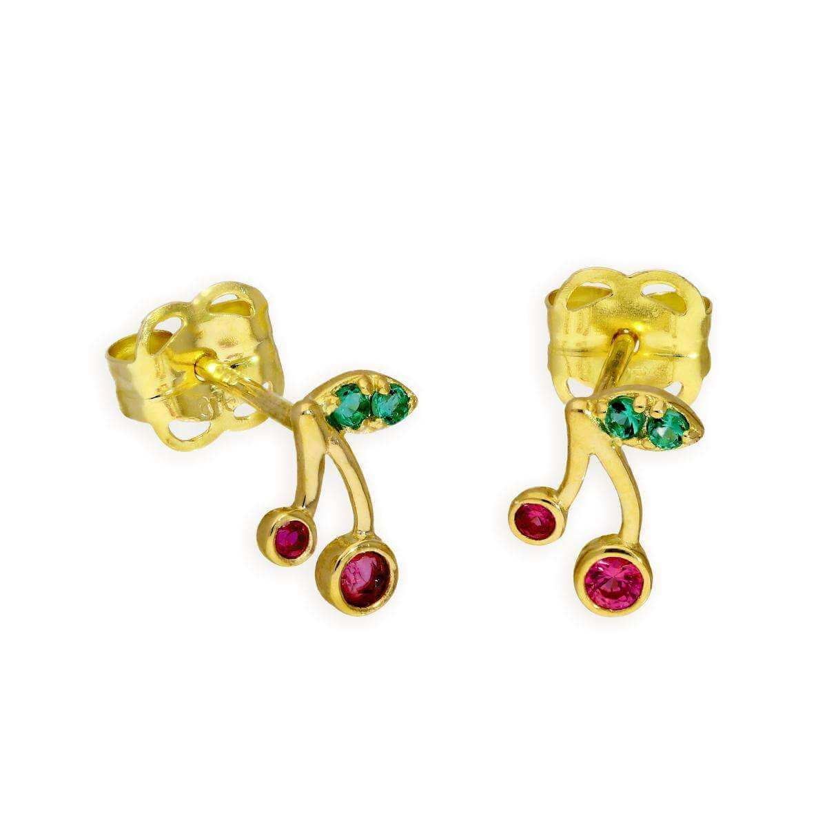 9ct Gold Green & Red CZ Crystal Cherries Stud Earrings