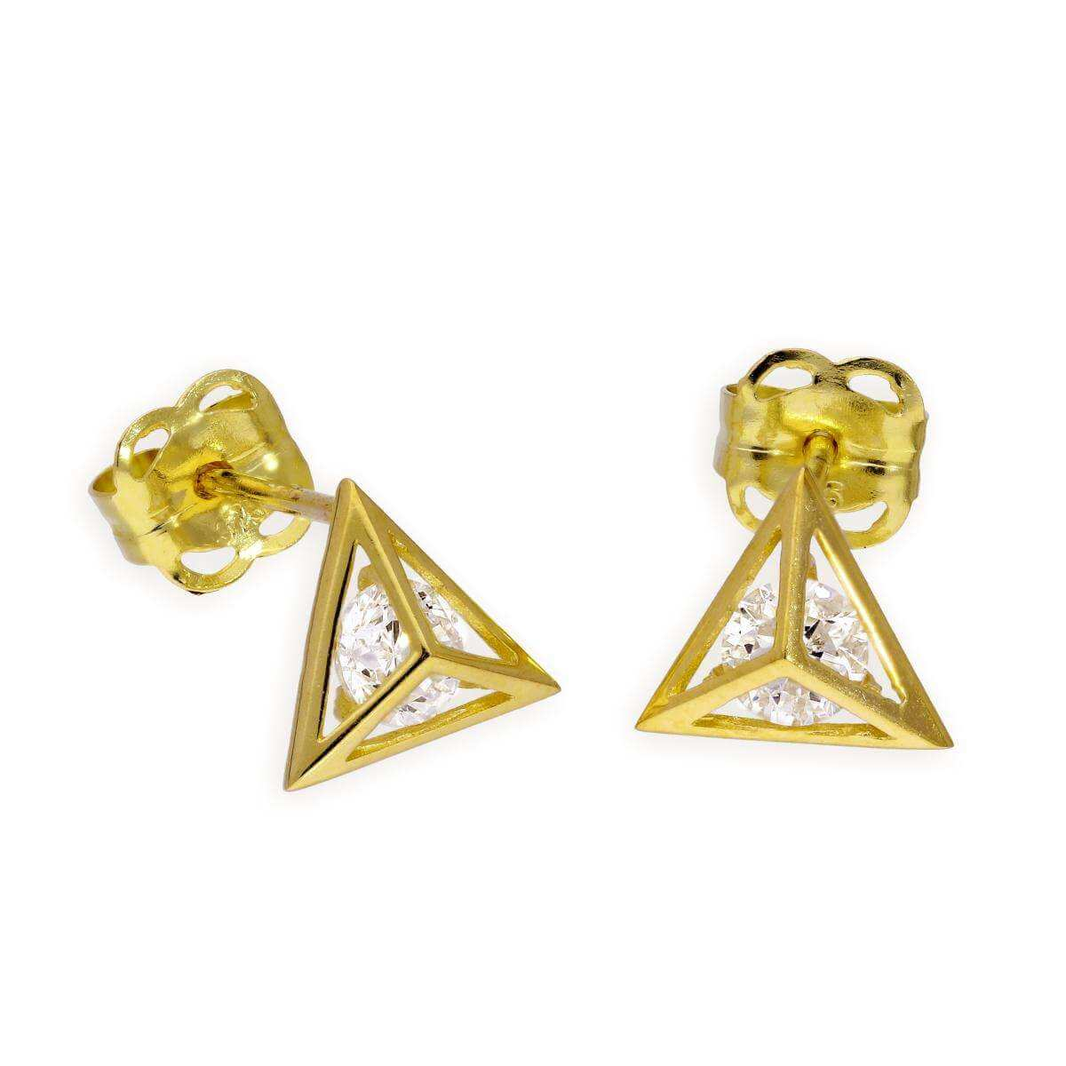 9ct Gold & Clear CZ Crystal Pyramid Stud Earrings